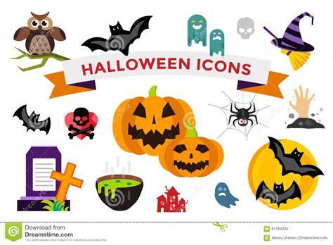 icons set pumpkin skull spider cat vector