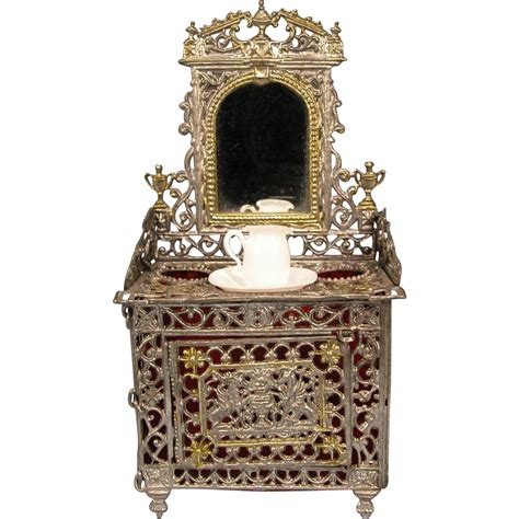 antique german dollhouse soft metal mirrored vanity with
