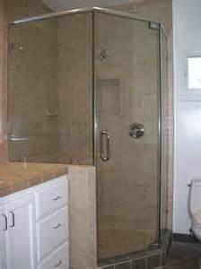 standing neo angle shower door traditional bathroom