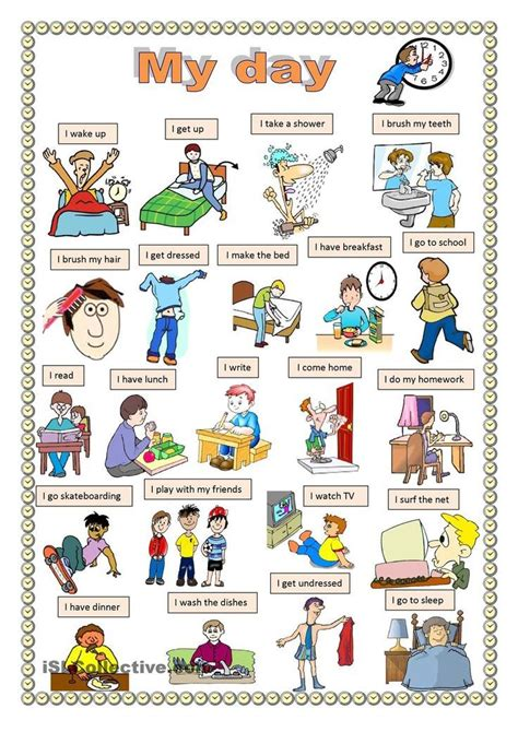 imagenes english day my day worksheet free esl printable worksheets made by