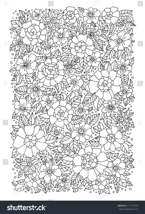 Bohemian Wedding Concept by Forest Flowers Vector Coloring Book Pages