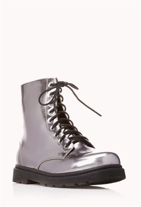 mens combat boots forever 21 forever 21 sleek combat boots in silver gunmetal lyst