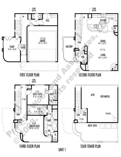 town home plans duplex townhome plan ac8286