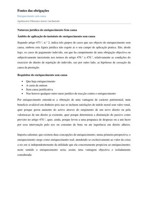 Natureza Juridica Do Enriquecimento Sem Causa | Law Of