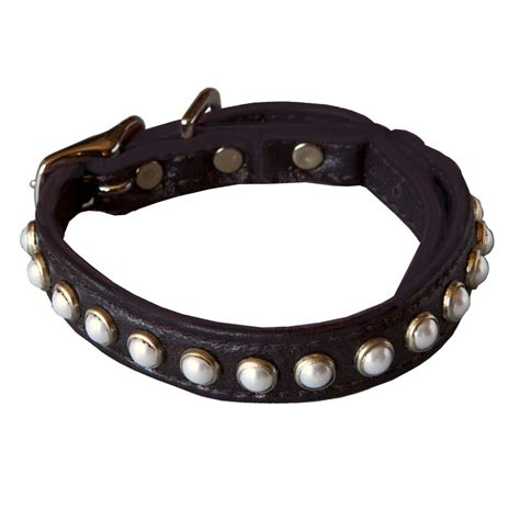 pearl collar planet leather pearl safety cat collar
