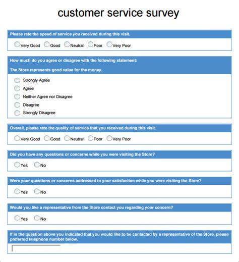 customer service survey questions template customer survey template 5 free documents in pdf
