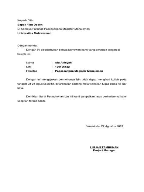 Surat Izin Tidak Masuk Kerja Kantor Dinas by Contoh Surat Izin Tidak Masuk Kuliah Untuk Mahasiswa Yang