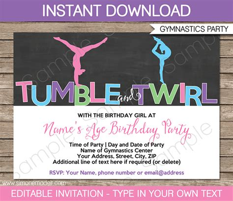 theme definition in your own words free printable gymnastic birthday invitations
