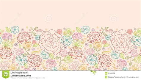 flower pattern line vector pink roses horizontal seamless pattern background border