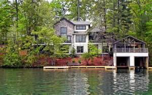 lake homes lake burton custom homes rustic exterior atlanta
