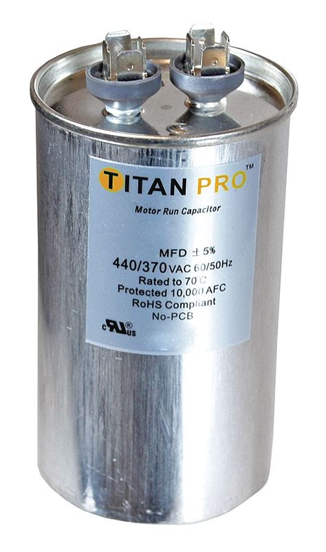 run capacitor what is it titan pro motor dual run capacitor 50 5 microfarad rating 370 440vac voltage trcfd505