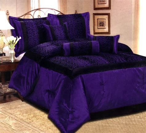 king size purple comforter sets 7 pcs flocking leopard satin comforter set bed in a bag