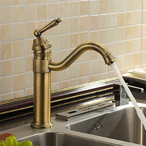 antique inspired kitchen faucet antique brass finish