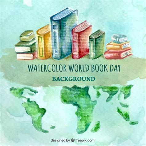 the color of water book watercolor background with books and world map vector