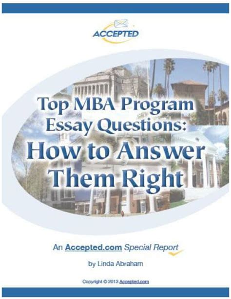 Best Mba Usa 2014 by Free Mba Admissions Guide To Top Mba Essay Questions