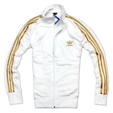 Adidas Jacket White And Gold L D C Co Uk