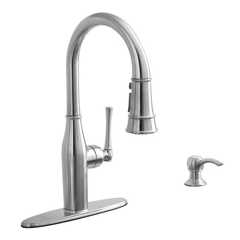 kitchen faucet stainless steel shop aquasource stainless steel 1 handle pull down kitchen