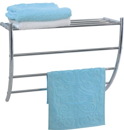 Wire Towel Racks by Wall Mounted Chrome Wire Metal Shelf And 3 Towel Racks