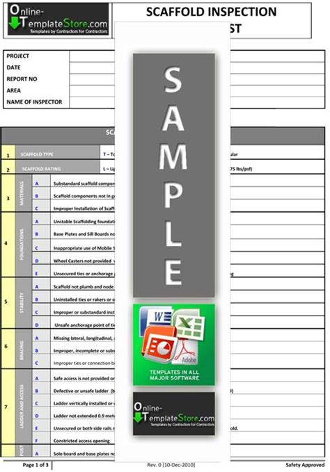 scaffold inspection checklist free template scaffold inspection checklist free template choice image