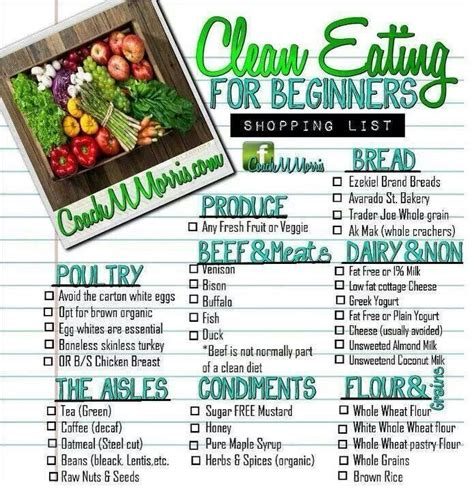clean dinner clean grocery list healthy eats