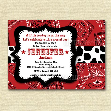 cowboy invitation template western cowboy bandana baby shower invitation printable