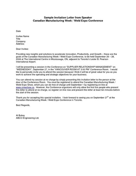 sample formal invitation letter guest speaker