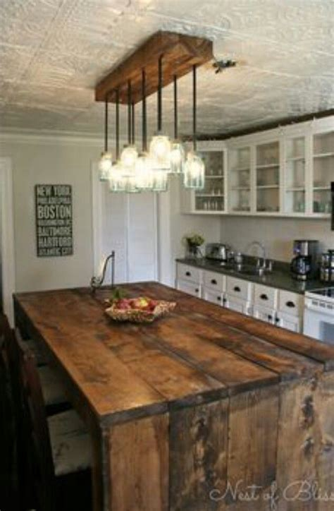 rustic kitchen island mason jar lighting tin