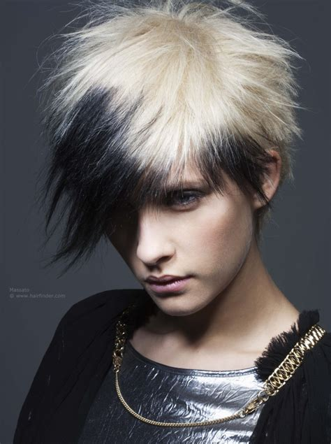 Short punk haircut with spikes and a contrast of black and