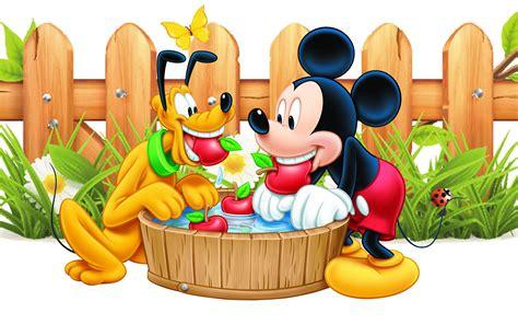 mickey mouse  pluto apple red wooden fence desktop wallpaper hd  wallpaperscom