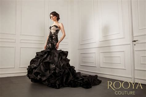 rooya couture black elegant night gown rooya couture