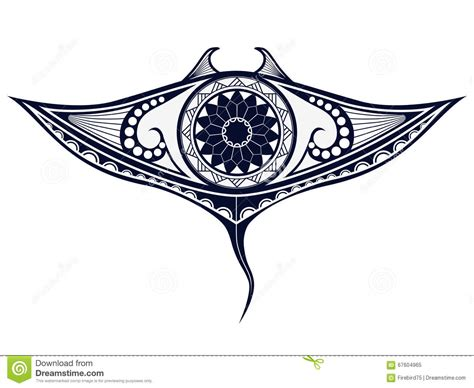maori style tattoo pattern in shape of manta ray fit for