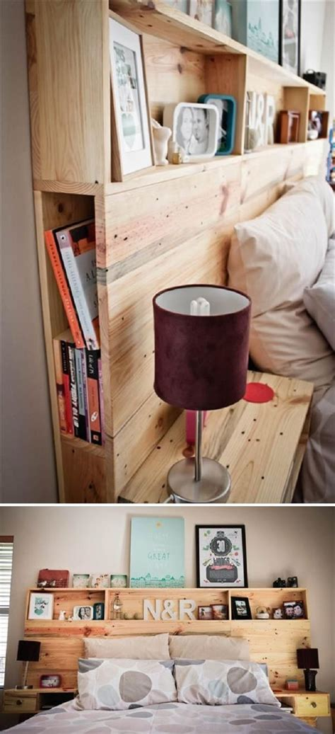 Diy Storage Ideas For Small Bedrooms by Diy Pallet Headboard With Shelves 15 Easy Headboard Diys