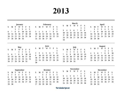 printable 2013 one page yearly pdf calendar
