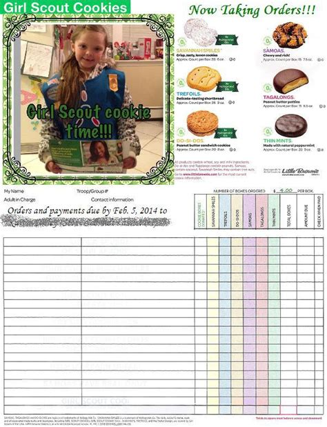 printable order form for girl scout cookies girl scout cookie time