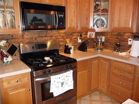 kitchens with faux stone panels traditional kitchen