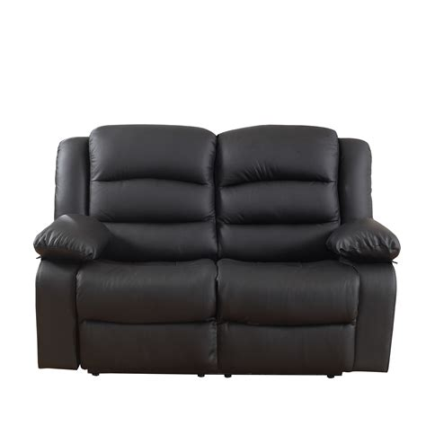 Classic Real Grain Leather Recliner Set Chair Loveseat Real Leather Reclining Sofa