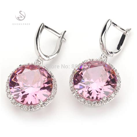 aliexpress earrings romantic pink kunzite fashion silver plated free shipping