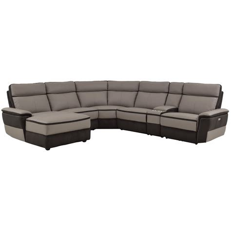 reclining sectional sofas with chaise homelegance laertes contemporary power reclining sectional