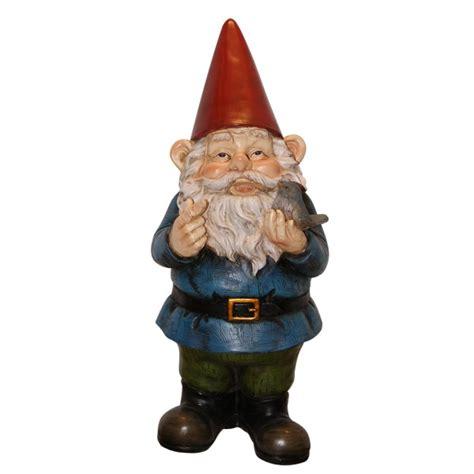 lawn gnome smiling lawn gnome w small bird stone resin outdoor