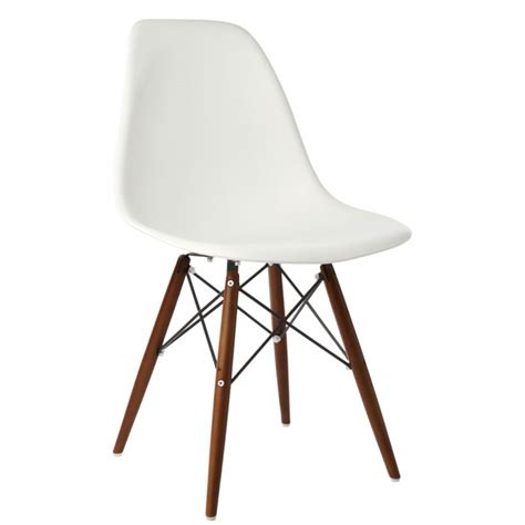 Molded Plastic Dining Chairs Eames Style Dsw Molded White Plastic Dining Shell Chair With Walnut Wood Eiffel Legs