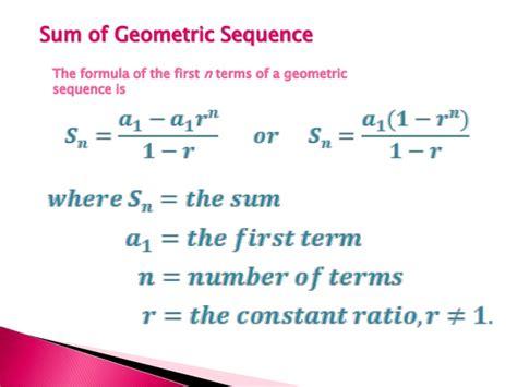 geometric number pattern formula geometric sequence