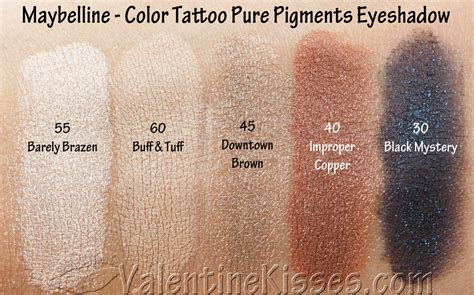 maybelline color tattoo swatches kisses maybelline color pigments