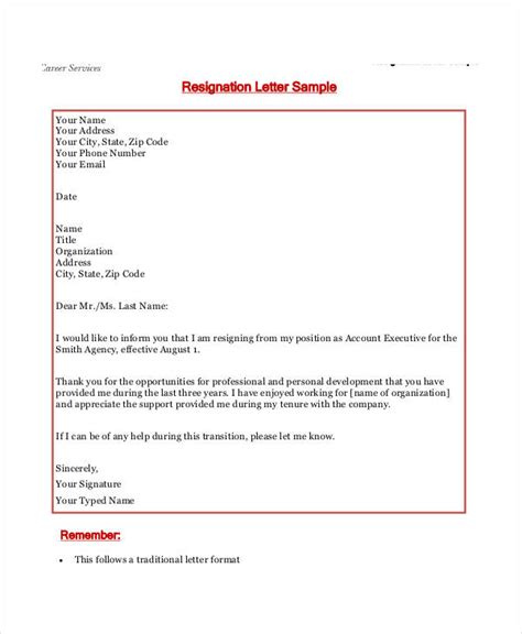 Resignation Letter Format For Starting Own Business resignation letter templates 7 free sle exle