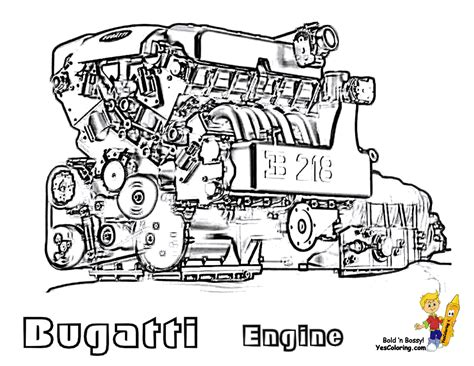 Super Fast Cars Coloring Fast Cars Free Bugatti Engine Colouring Pages