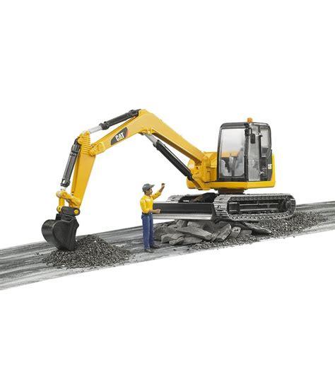 bruder excavator bruder toys cat mini excavator with worker vehicle