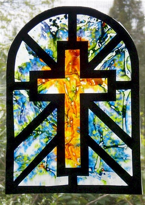 melted crayon stained glass cross suncatcher fun family