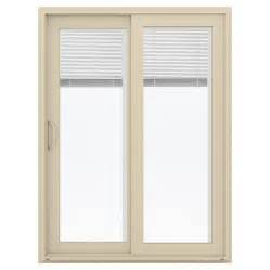vinyl sliding patio door reviews shop jeld wen v 4500 59 5 in blinds between the glass