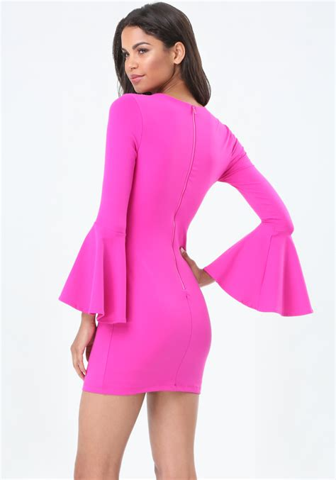 Bell Sleeves Dress by Lyst Bebe Bell Sleeve Bodycon Dress In Pink