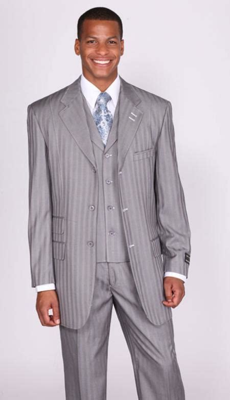 light gray vested suit grey stripe collared vested church suits for