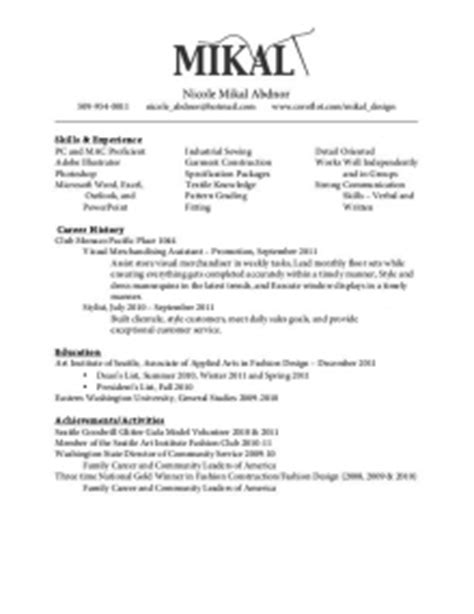 Free Sle Resume For Visual Merchandiser Sle Visual Merchandiser Resume